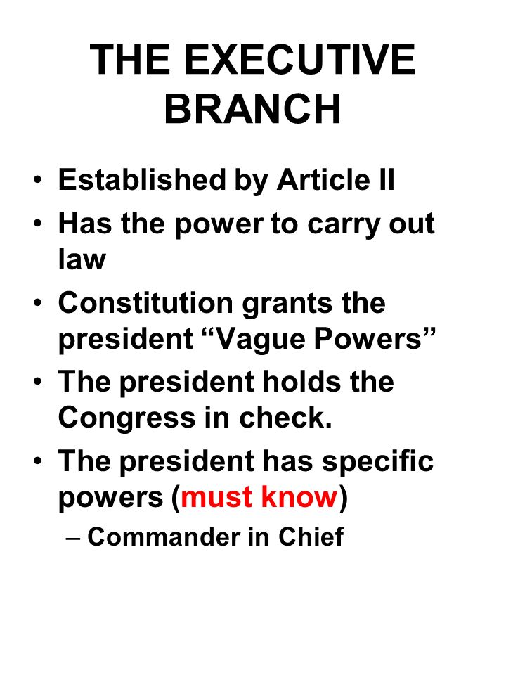 THE EXECUTIVE BRANCH Established by Article II