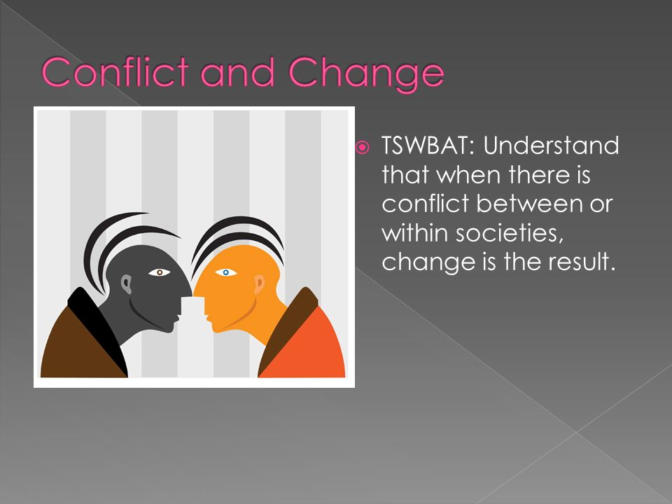 Conflict and Change TSWBAT: Understand that when there is conflict between or within societies, change is the result.
