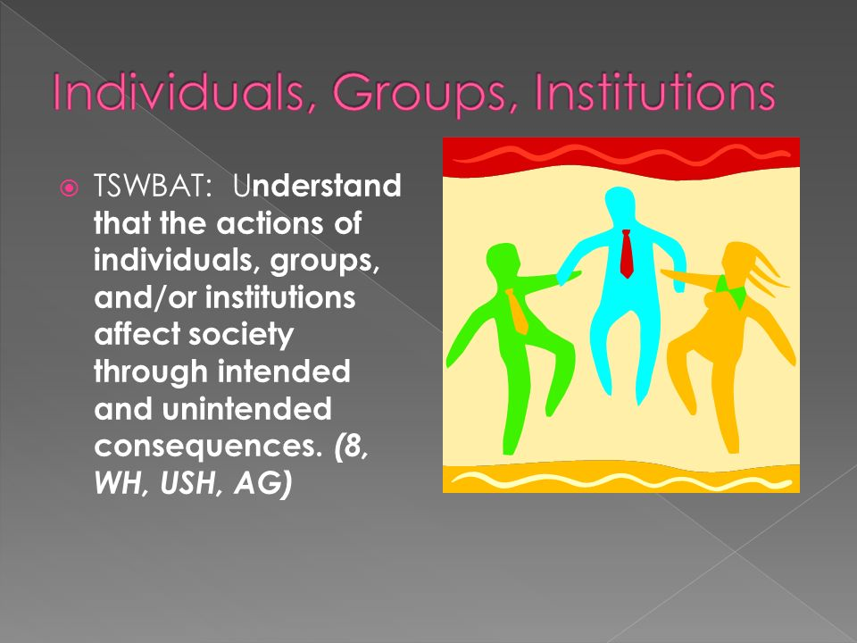 Individuals, Groups, Institutions