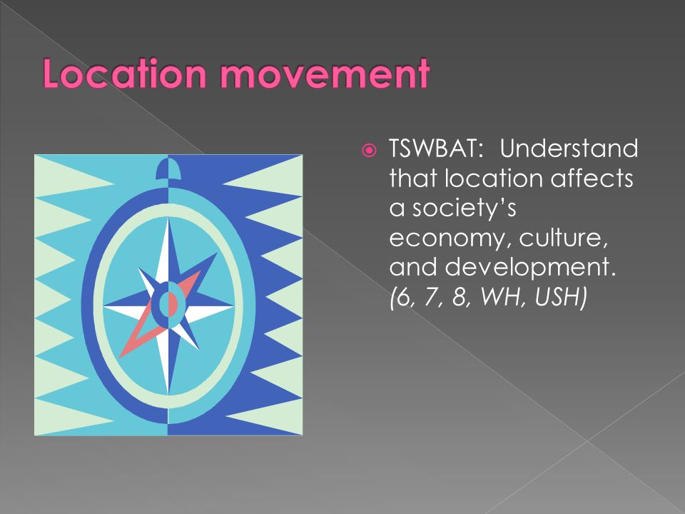 Location movement TSWBAT: Understand that location affects a society's economy, culture, and development.