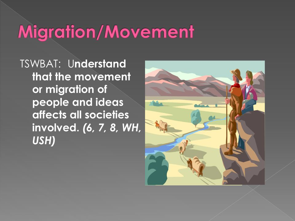 Migration/Movement TSWBAT: Understand that the movement or migration of people and ideas affects all societies involved.