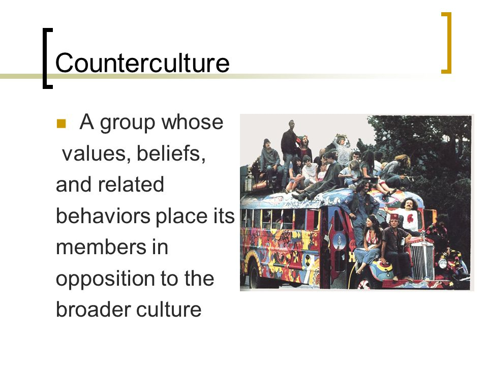 Counterculture A group whose values, beliefs, and related