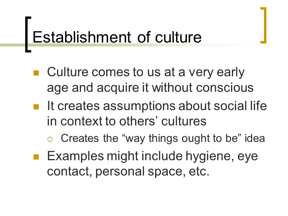 Establishment of culture