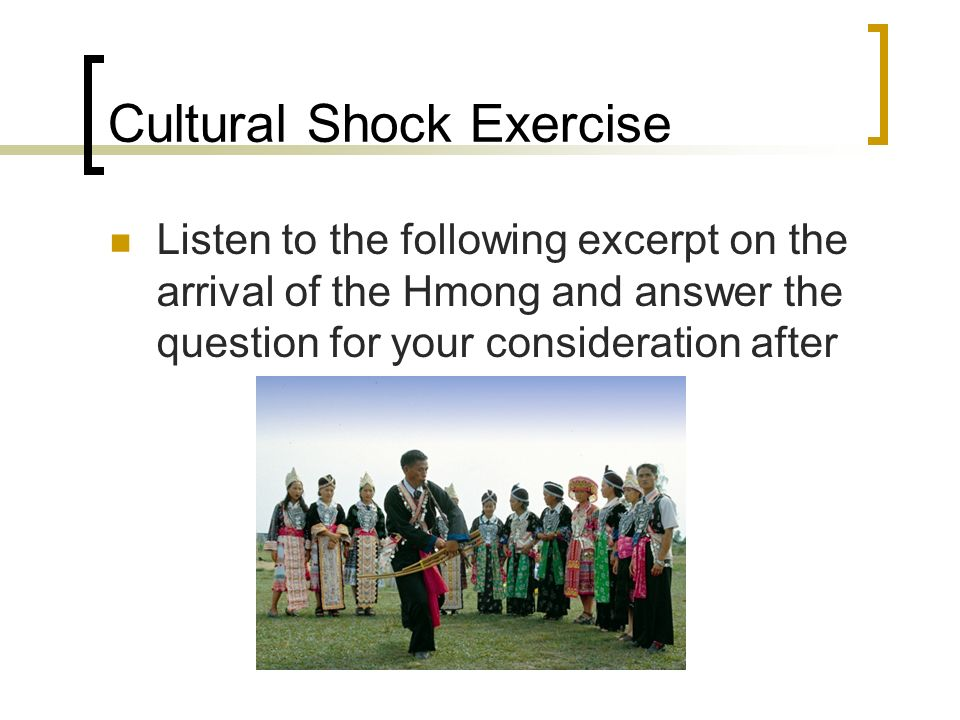 Cultural Shock Exercise