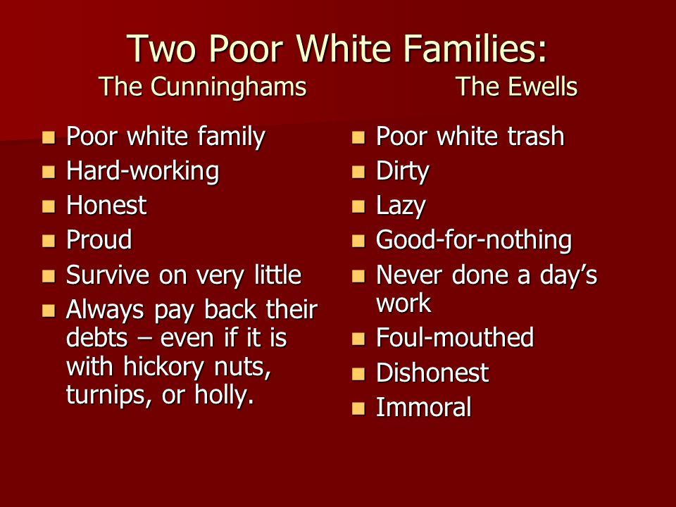 Two Poor White Families: The Cunninghams The Ewells