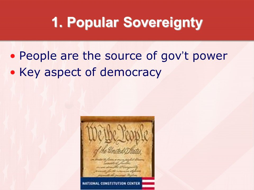 1. Popular Sovereignty People are the source of gov't power