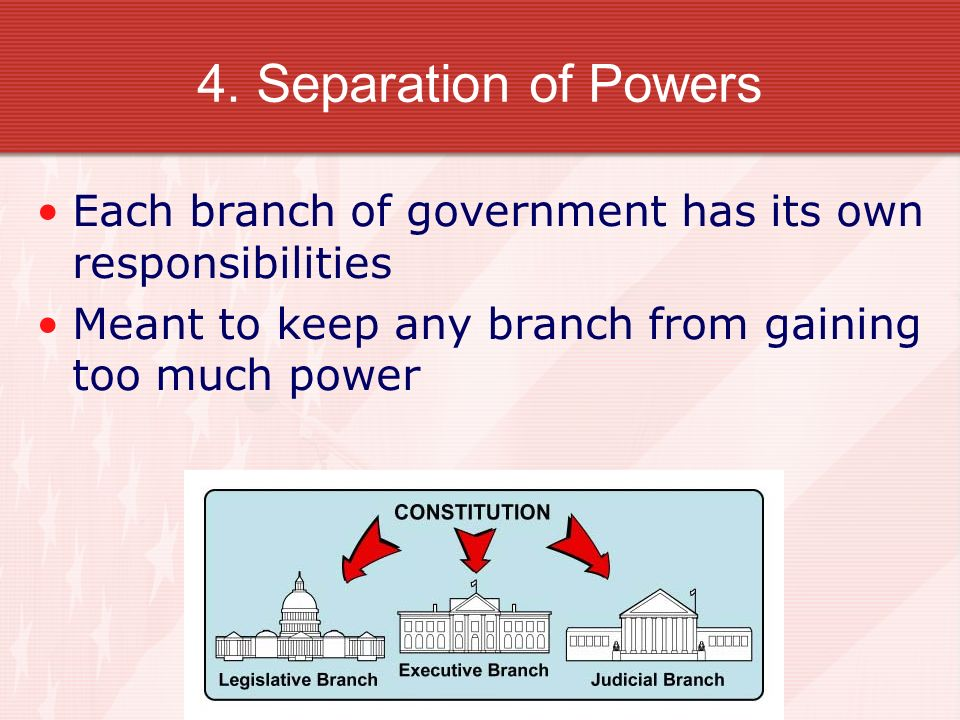 4. Separation of Powers Each branch of government has its own responsibilities.
