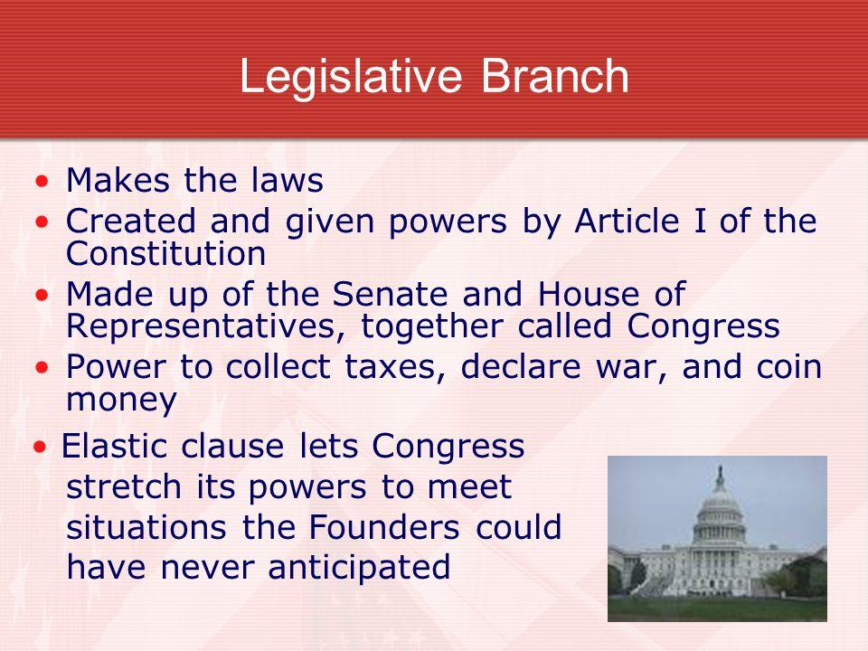Legislative Branch Makes the laws