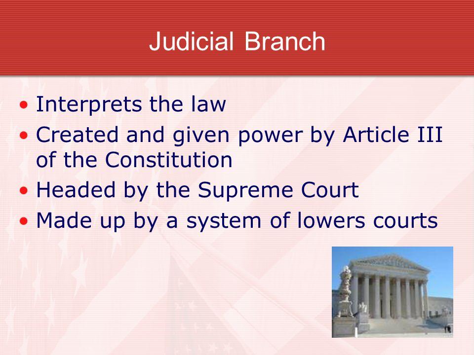 Judicial Branch Interprets the law