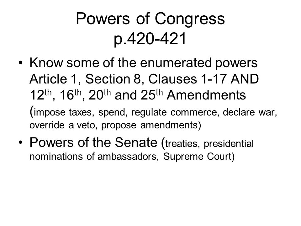 Powers of Congress p.420-421