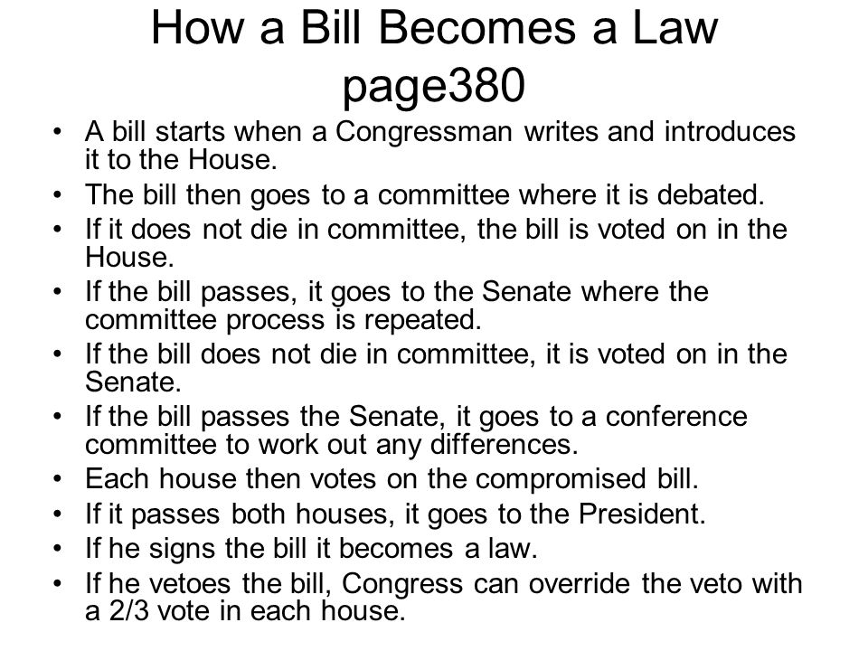 How a Bill Becomes a Law page380