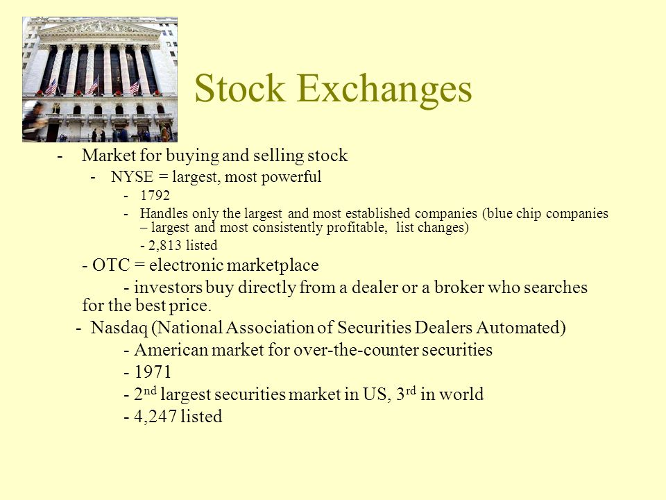 Stock Exchanges Market for buying and selling stock
