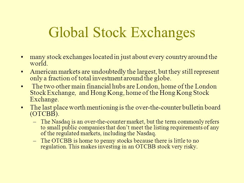 Global Stock Exchanges