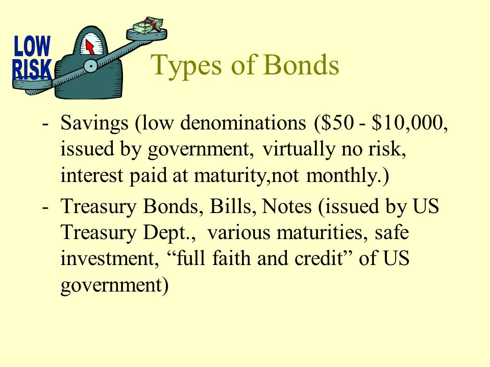 Types of Bonds Savings (low denominations ($50 - $10,000, issued by government, virtually no risk, interest paid at maturity,not monthly.)