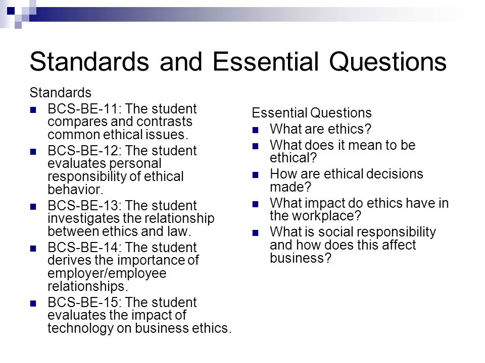 Standards and Essential Questions