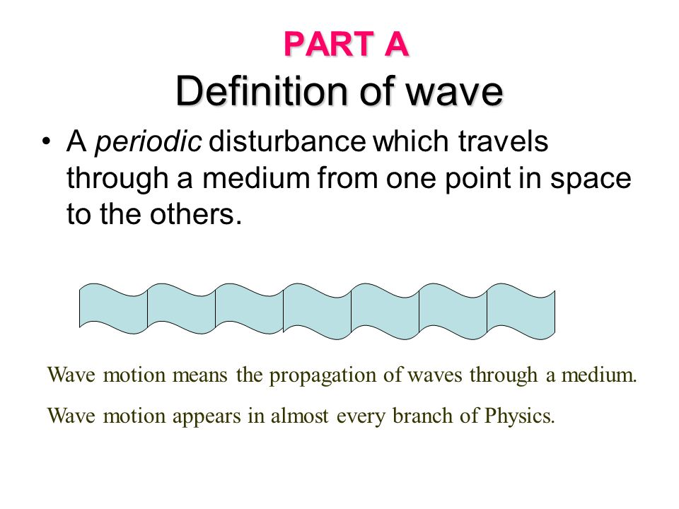 PART A Definition of wave