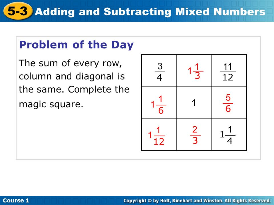 Adding and subtracting fractions magic square