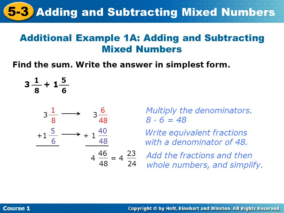 Additional Example 1A: Adding and Subtracting Mixed Numbers