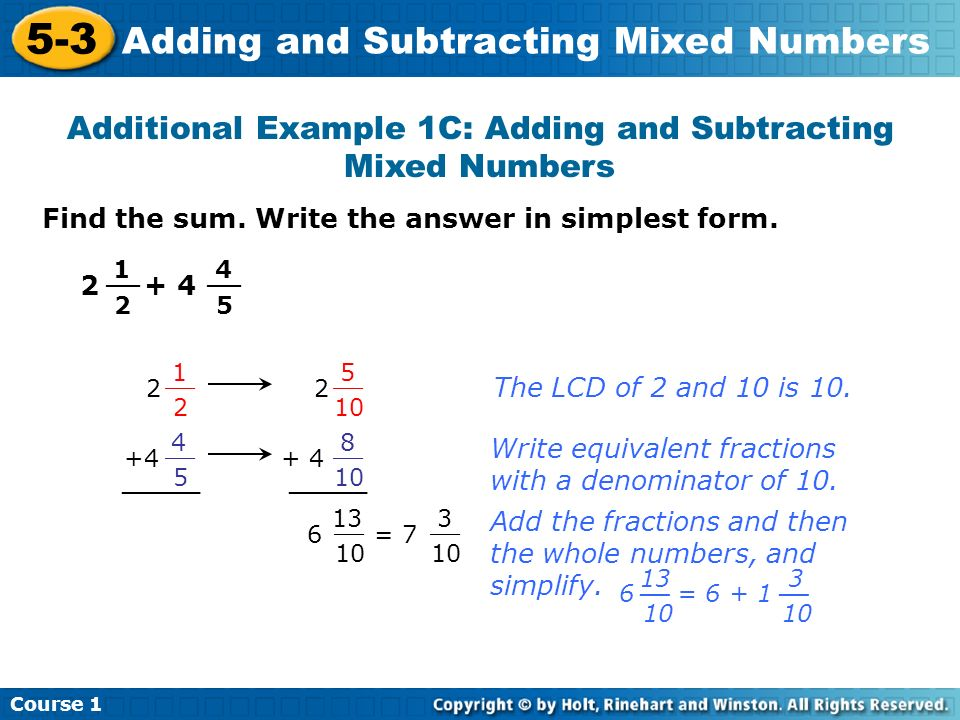 Additional Example 1C: Adding and Subtracting Mixed Numbers