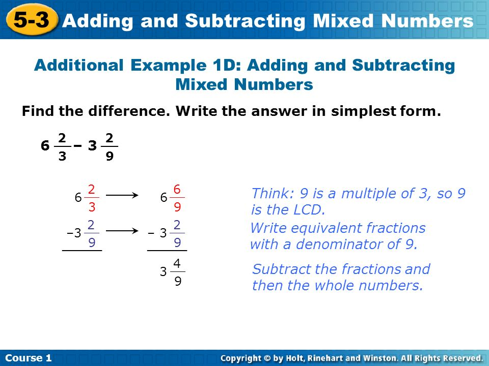 Additional Example 1D: Adding and Subtracting Mixed Numbers