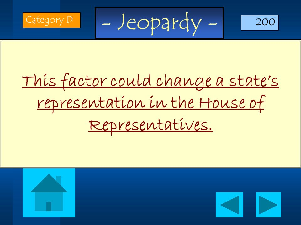 Category D 200 This factor could change a state's representation in the House of Representatives.