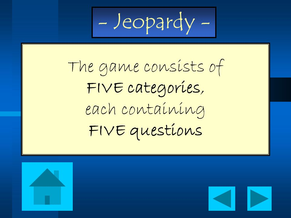 The game consists of FIVE categories, each containing FIVE questions