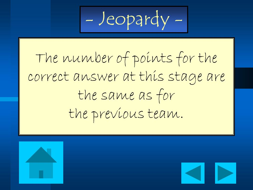 The number of points for the correct answer at this stage are the same as for the previous team.