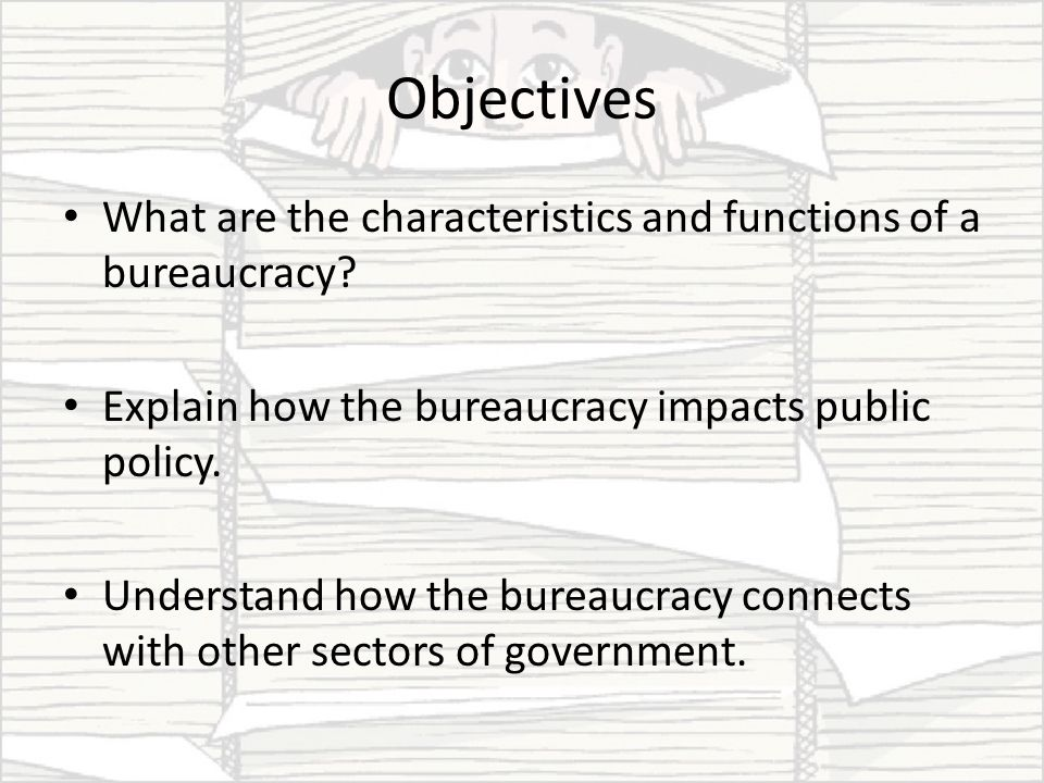 characteristics of bureaucracy The german sociologist max weber (1864-1920) believed the ideal type of bureaucratic authority structure would be bound by formalized rules, allow only those specifically competent to serve and prohibit members from ownership of the means of administration or production weber also advocated civic .