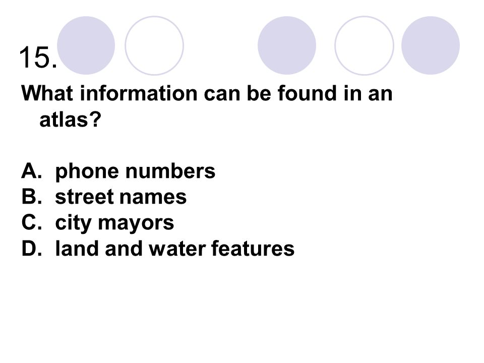 15. What information can be found in an atlas phone numbers