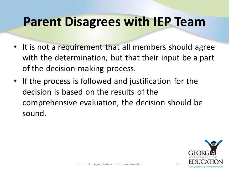 Parent Disagrees with IEP Team