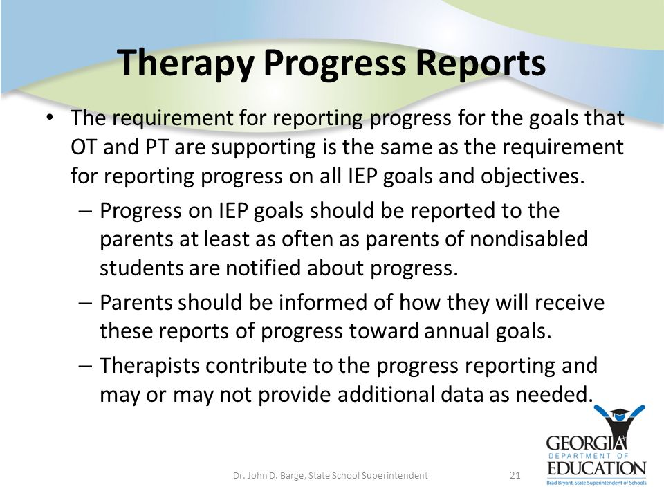 Therapy Progress Reports