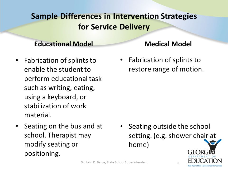 Sample Differences in Intervention Strategies for Service Delivery