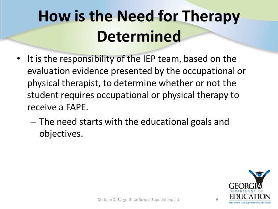 How is the Need for Therapy Determined