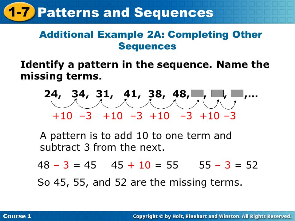 Additional Example 2A: Completing Other Sequences