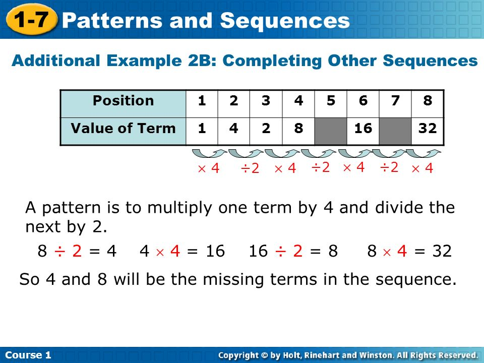 Additional Example 2B: Completing Other Sequences