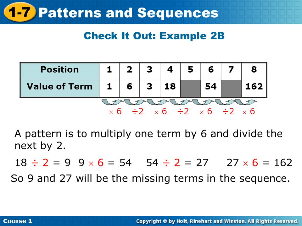 A pattern is to multiply one term by 6 and divide the next by 2.