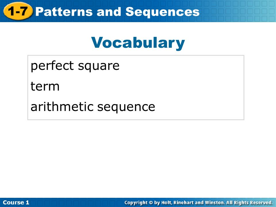 Vocabulary perfect square term arithmetic sequence