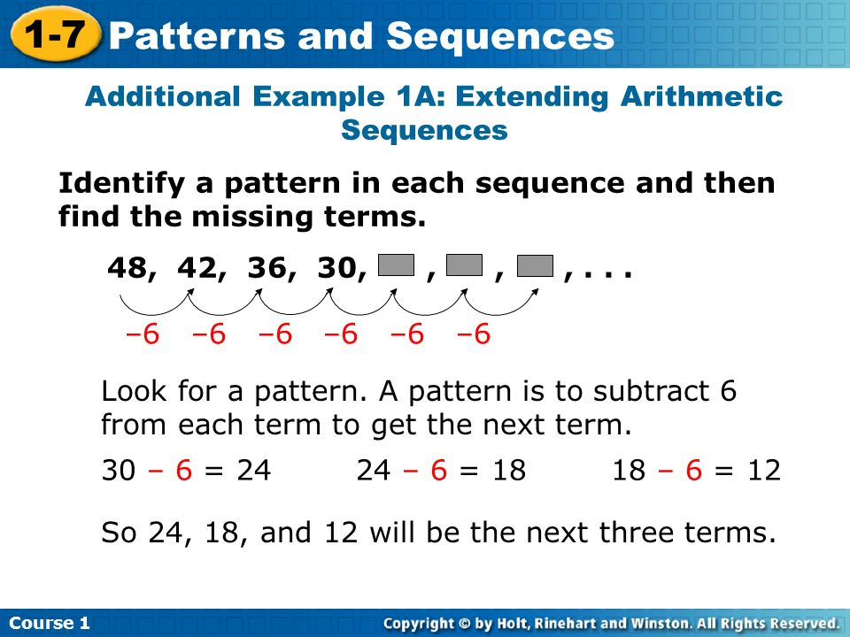 Additional Example 1A: Extending Arithmetic Sequences