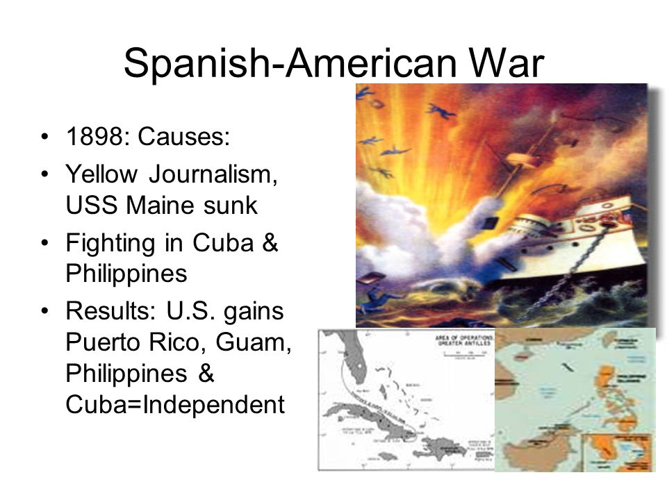 Spanish-American War 1898: Causes: Yellow Journalism, USS Maine sunk