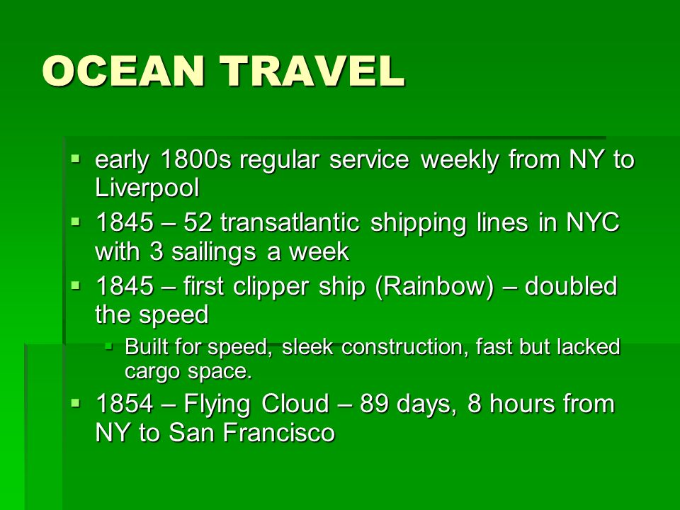 OCEAN TRAVEL early 1800s regular service weekly from NY to Liverpool