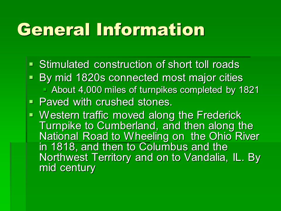 General Information Stimulated construction of short toll roads