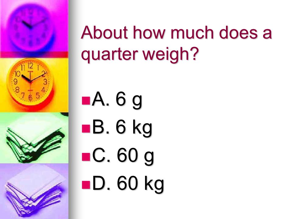 About how much does a quarter weigh