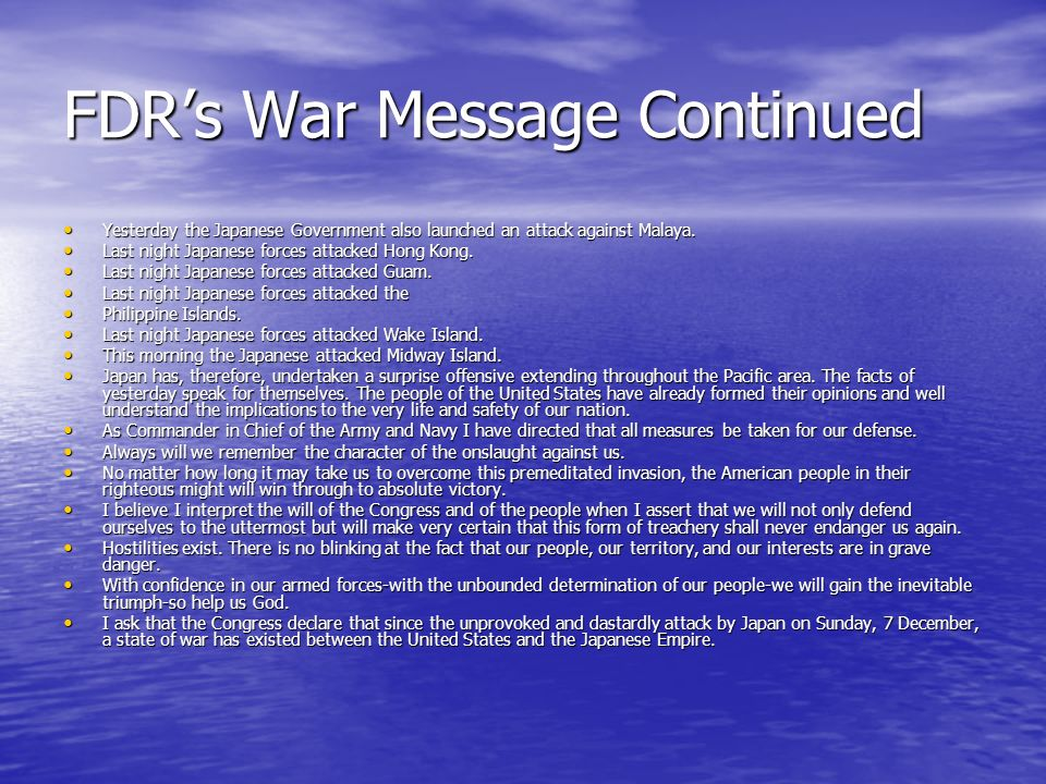 FDR's War Message Continued