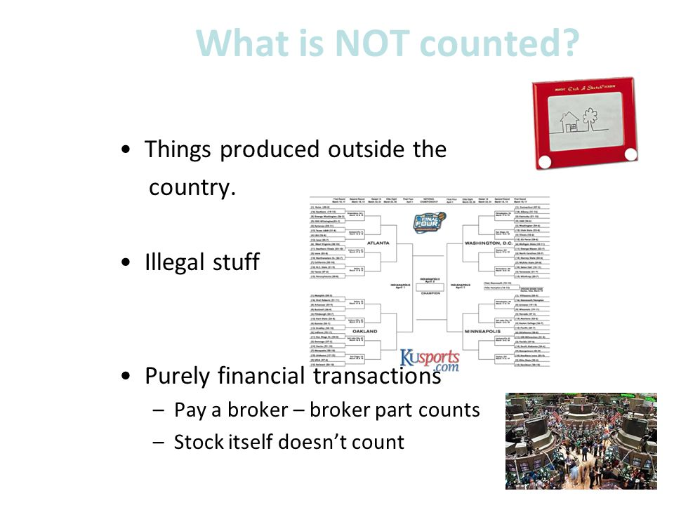 What is NOT counted Things produced outside the country.