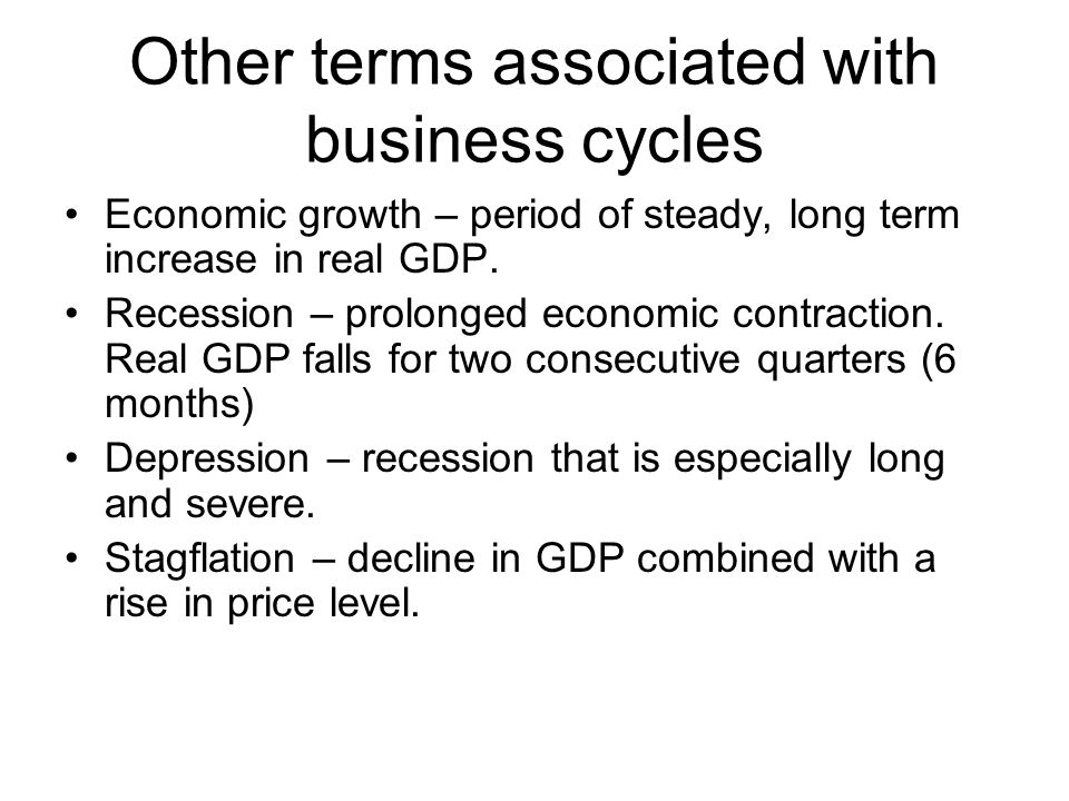 Other terms associated with business cycles