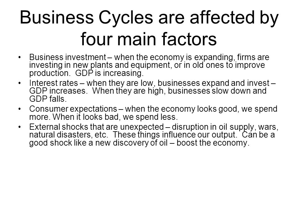 Business Cycles are affected by four main factors