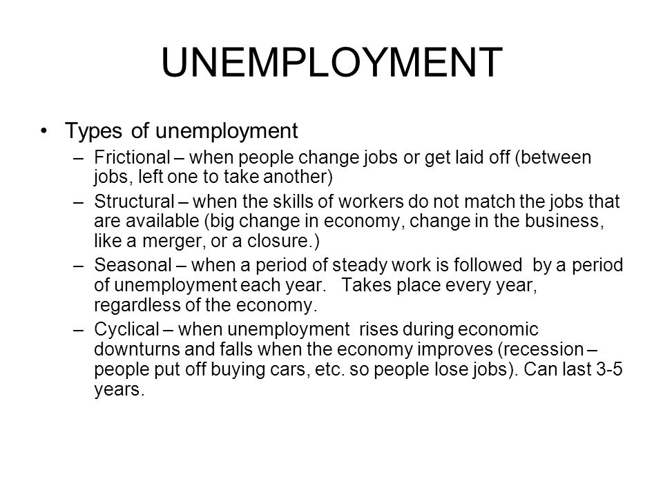 UNEMPLOYMENT Types of unemployment