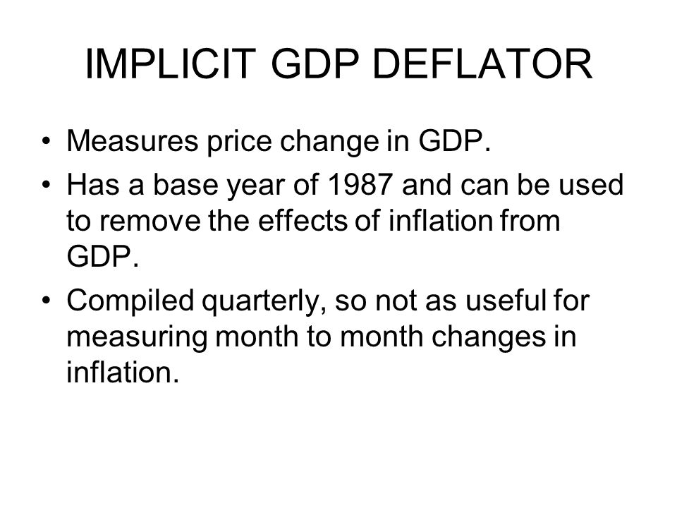 IMPLICIT GDP DEFLATOR Measures price change in GDP.