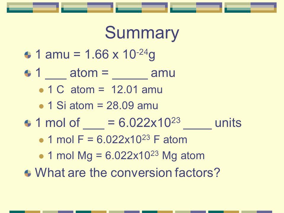 Summary 1 amu = 1.66 x 10-24g 1 ___ atom = _____ amu