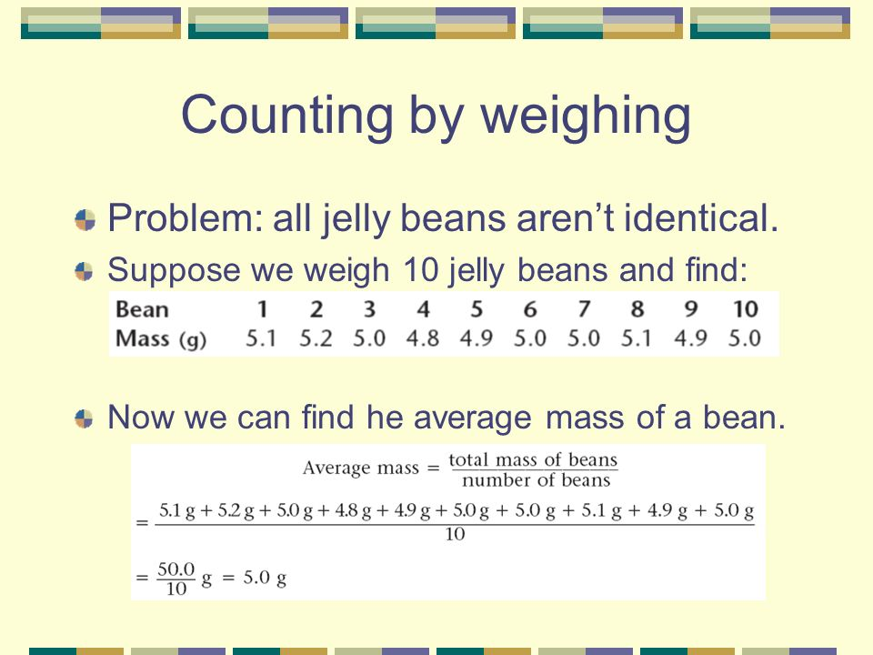 Counting by weighing Problem: all jelly beans aren't identical.